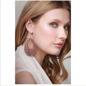 Jewelry - Laser Cut Tear Drop Wood Filigree Earrings